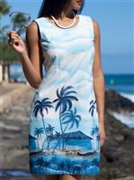 KY'S Shore Line Light Blue Cotton Tank Dress