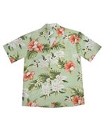 KY'S Majestic Hibiscus Olive Green Rayon Men's Hawaiian Shirt