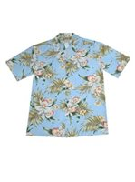 KY'S Blooming Orchid Sky Blue Rayon Men's Hawaiian Shirt