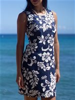 KY'S Classic Hibiscus Navy Blue Cotton Tank Dress