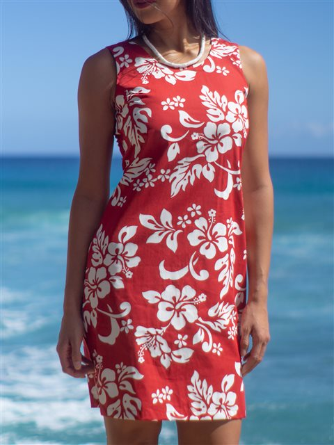 020e103990a KY'S Classic Hibiscus Red Cotton Tank Dress | AlohaOutlet