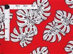 White Monstera Red Poly Cotton CHOE-330