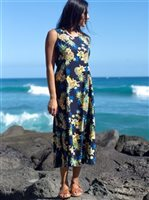 [Exclusive] Two Palms Golden Pineapple Navy Rayon Hawaiian Dress