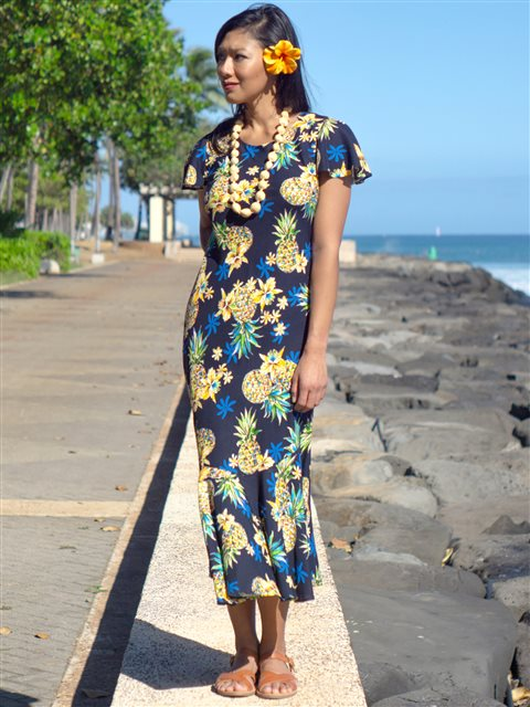 [Exclusive] Two Palms Golden Pineapple Navy Rayon Hawaiian Long Dress