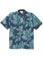 Reyn Spooner Hibiscus Fronds Dress Blues Cotton Polyester Men's Classic Fit Hawaiian Shirt