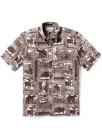 Reyn Spooner Yellowstone National Park Brown Cotton Polyester Men's Classic Fit Hawaiian Shirt