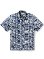 Reyn Spooner Summer Commemorative 2019 Medieval Blue Cotton Polyester Men's Classic Fit Hawaiian Shirt