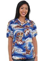 Hilo Hattie Blue Hawaii Blue Rayon Women's Hawaiian Shirt