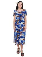 Hilo Hattie Blue Hawaii Blue Rayon Women's Hawaiian Muumuu Dress