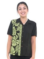 Hilo Hattie Prince Kuhio Black & Green Rayon Women's Hawaiian Shirt