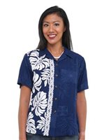 Hilo Hattie Prince Kuhio Navy/White Rayon Women's Hawaiian Shirt
