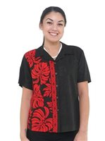 Hilo Hattie Prince Kuhio Black&Red Rayon Women's Hawaiian Shirt