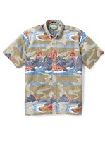 Reyn Spooner Volcanoes National Park Winter Twig Poly Cotton  Men's Classic Fit Hawaiian Shirt