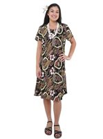 Hilo Hattie Vintage Scenic Black Rayon Women's Hawaiian Short Dress