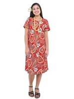 Hilo Hattie Vintage Scenic Red Rayon Women's Hawaiian Short Dress