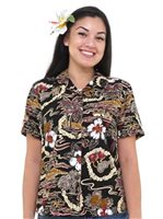 Hilo Hattie Vintage Scenic Black Rayon Women's Hawaiian Shirt