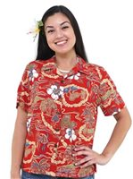 Hilo Hattie Vintage Scenic Red Rayon Women's Hawaiian Shirt