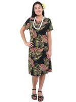 Hilo Hattie Monstera Black Rayon Women's Hawaiian Short Dress