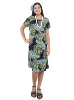 Hilo Hattie Monstera Navy Rayon Women's Hawaiian Short Dress