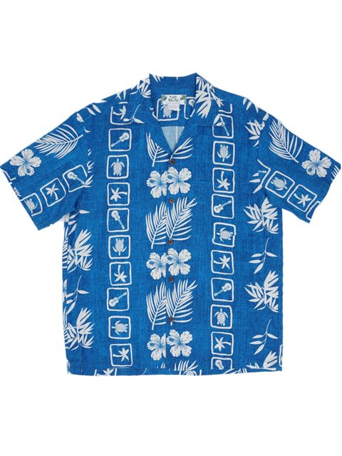 b759eeb871 Two Palms Aloha Squares Blue Rayon Men's Hawaiian Shirt | AlohaOutlet