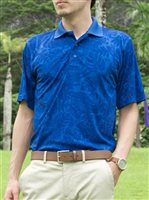 Monstera Square Floral Royal Blue Men's Polo Shirt