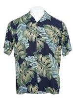 Hilo Hattie Monstera Navy Rayon Men's Hawaiian Shirt