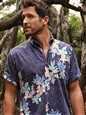 Reyn Spooner South Pacific Garlands Maritime Blue Polycotton Men's Classic Fit Hawaiian Shirt