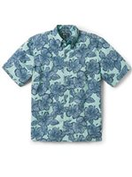 Reyn Spooner Hibiscus Orchard Blue Turquoise Polycotton Men's Classic Fit Hawaiian Shirt