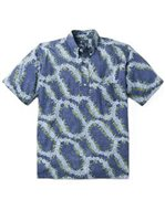 Reyn Spooner Pansy Lei Medieval Blue Cotton Men's Classic Fit Pullover Hawaiian Shirt