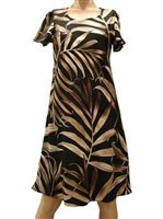 Paradise Found Palm Fronds Black Rayon A-Line Dress w/sleeves