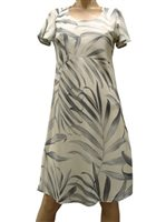 Paradise Found Palm Fronds Cream Rayon A-Line Dress w/sleeves