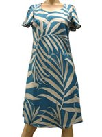 Paradise Found Palm Fronds Blue Rayon A-Line Dress w/sleeves