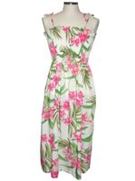 KY'S Wild Hawaiian Orchid  White Rayon Tube dress