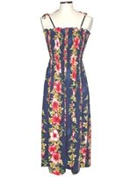 KY'S Hibiscus Floral Panel  Navy Blue Rayon Tube dress