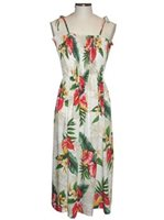 KY'S Anthurium Flowers White Rayon Tube dress
