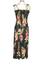 KY'S Anthurium Flowers Black Rayon Tube dress