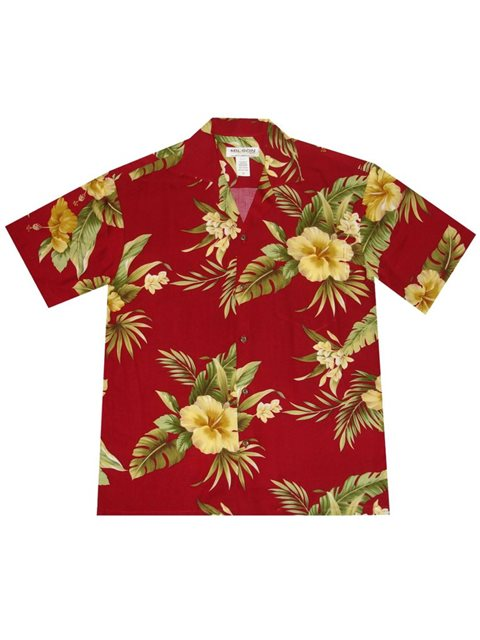 Made in Hawaii Mens Hawaiian Shirt Aloha Shirt Red Black Fish Koi Floral in Yellow