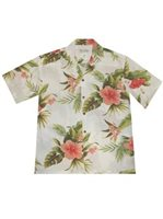 KY'S Wild Hibiscus White Rayon Men's Hawaiian Shirt