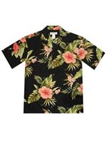 KY'S Wild Hibiscus Black Rayon Men's Hawaiian Shirt