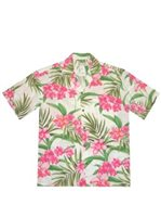 KY'S Wild Hawaiian Orchid White Rayon Men's Hawaiian Shirt