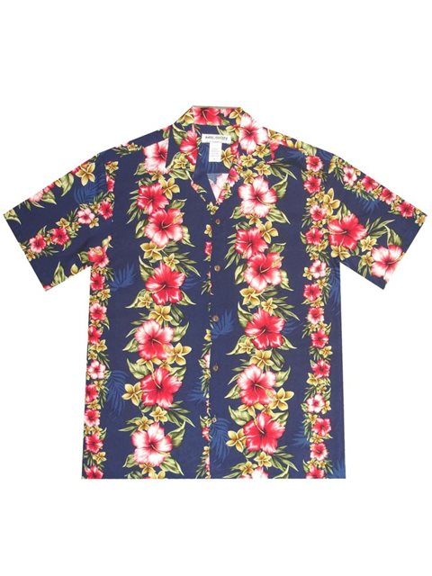 3a419d2147 KY'S Hibiscus Floral Panel Navy Blue Rayon Men's Hawaiian Shirt ...