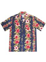 KY'S Hibiscus Floral Panel Navy Blue Rayon Men's Hawaiian Shirt