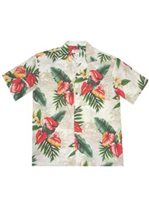 KY'S Anthurium flowers White Rayon Men's Hawaiian Shirt