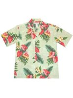 KY'S Anthurium flowers Green Rayon Men's Hawaiian Shirt
