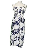 KY'S Aloha Spirit Navy Blue Cotton Tube dress