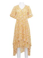Angels by the Sea Yellow Rayon Floral  High-Low Dress