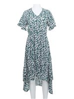 Angels by the Sea Green Rayon Floral  High-Low Dress