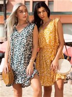 Angels by the Sea Yellow Rayon Floral Short Dress
