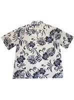 KY'S Aloha Spirit Navy Blue Cotton Men's Hawaiian Shirt