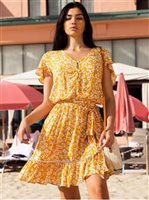 Angels by the Sea Yellow Rayon Floral  Waist Tie Dress